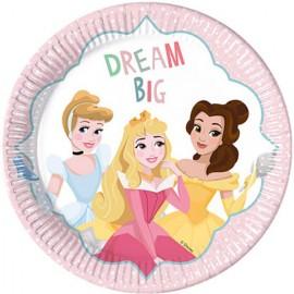 "Set 8 farfurii de unica folosinta 23 cm ""Dream Big"" Printesele Disney"