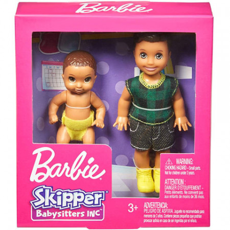 Set papusa Skipper Babysitter cu bebelus brunet Barbie