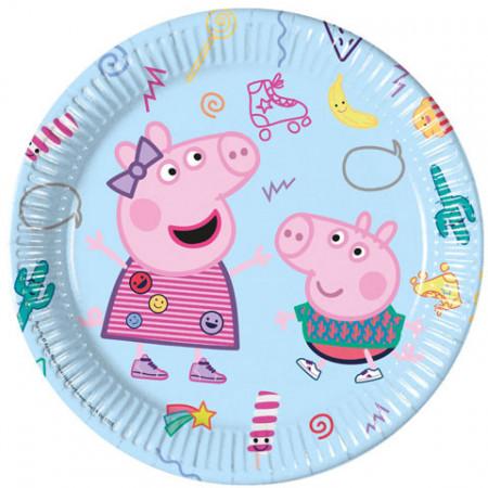 Set 8 farfurii de unica folosinta 23 cm Peppa Pig