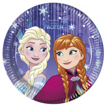 Set 8 farfurii de unica folosinta 20 cm Anna si Elsa Frozen