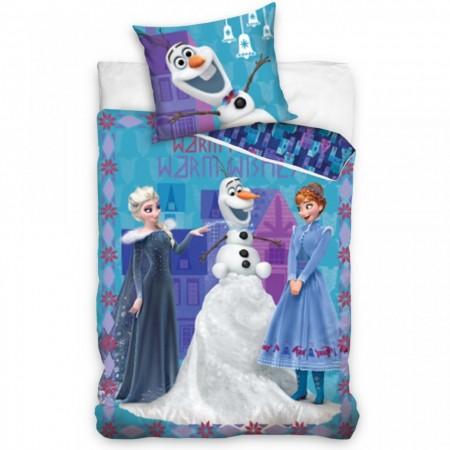 Lenjerie pat Anna, Elsa si Olaf Frozen 140x200 cm