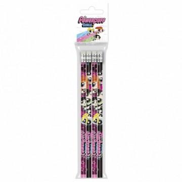 Set 4 creioane grafit cu radiera Fetitele Powerpuff
