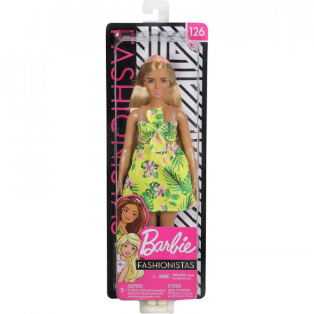 Papusa Barbie in rochie cu imprimeu tropical Barbie Fashionistas