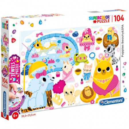 Puzzle Jewels Puppies Beauty and Spa Clementoni 104 piese