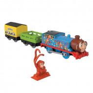 Locomotiva motorizata Monkey Thomas cu doua vagoane Thomas si Prietenii Sodor Safari Track Master