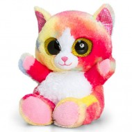 Pisica de plus curcubeu Animotsu Ochi Mari 15 cm