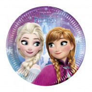 Set 8 farfurii de unica folosinta 23 cm Anna si Elsa Frozen