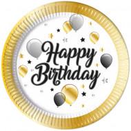 Set 8 farfurii de unica folosinta 23 cm Happy Birthday