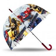 Umbrela transparenta manuala Optimus Prime si Bumblebee Transformers 70 cm