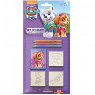 Set creativ 3 stampile si 3 creioane colorate fete Patrula Catelusilor