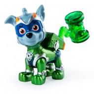 Figurina mecanica Rocky Mighty Pups Super Paws Patrula Catelusilor