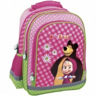 Ghiozdan ergonomic cu 3 compartimente Masha and the Bear 38 cm