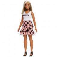Papusa Barbie in fusta cu buline Barbie Fashionistas