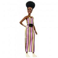 Papusa Barbie in rochie cu dungi si pete vitiligo Barbie Fashionistas