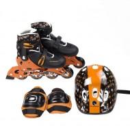 Role reglabile si echipament de protectie cu casca Nils NJ082 - Negru/Oranj