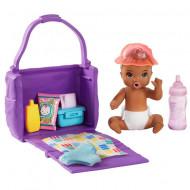 Set papusa bebelus Barbie mulatru si accesorii Barbie Skipper Babysitters