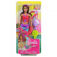 Set papusa Barbie sirena bruneta cu suvita mov si delfin Barbie Dreamhouse Adventures