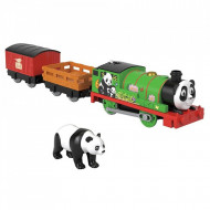 Locomotiva motorizata Panda Percy cu doua vagoane Thomas si Prietenii Sodor Safari Track Master