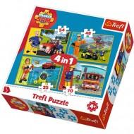 Puzzle Pompierul Sam si echipa 4 in 1