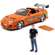 Set de joaca figurina Brian si masinuta metalica Toyota Supra Fast and Furious