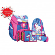 Set ghiozdan ergonomic Unicorn echipat roz