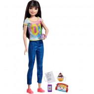 Set papusa Barbie bruneta cu accesorii Barbie Skipper Babysitters