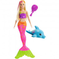 Set papusa Barbie sirena blonda cu suvita roz si delfin Barbie Dreamhouse Adventures