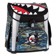 Ghiozdan ergonomic cu pereti rigizi Flying Sharks 41 cm