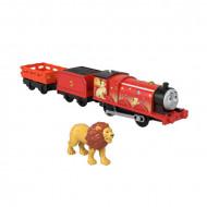 Locomotiva motorizata Lion James cu doua vagoane Thomas si Prietenii Sodor Safari Track Master