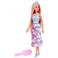 Papusa Barbie cu par roz si pieptan Barbie Dreamtopia