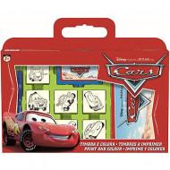 Set creativ 7 stampile si 3 carioci Cars