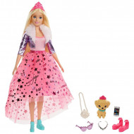 Set papusa Barbie blonda cu 5 accesorii Barbie Princess Adventure