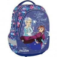 Ghiozdan ergonomic scoala Anna si Elsa Frozen cu 3 compartimente 44 cm