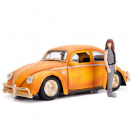 Masinuta metalica Bumblebee Volkswagen Beetle si figurina Charlie Hollywood Rides Transformers 21 cm