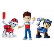 Set 3 figurine mecanice Ryder, Marshall si Chase + insigne Patrula Catelusilor