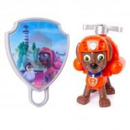 Set de joaca figurina mecanica Zuma si insigna 3D Patrula Catelusilor
