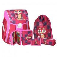 Set ghiozdan ergonomic Owl echipat roz