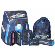 Set ghiozdan ergonomic Police echipat albastru-inchis