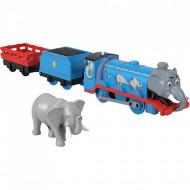 Locomotiva motorizata Elefant Gordon cu doua vagoane Thomas si Prietenii Sodor Safari Track Master
