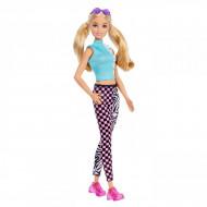 Papusa Barbie blonda cu tricou Malibu si pantaloni Barbie Fashionistas