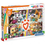 Puzzle Glitter 44 Cats Clementoni 104 piese