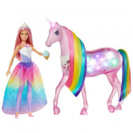 Set de joaca Unicorn interactiv si papusa Barbie Dreamtopia