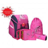 Set ghiozdan ergonomic Horse echipat roz