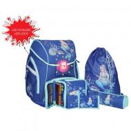 Set ghiozdan ergonomic Sirena echipat albastru