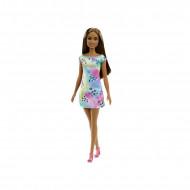 Papusa satena cu rochie colorata Barbie Flower Dresses