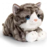 Pisica de plus cu dungi gri 32 cm