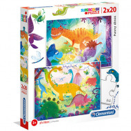 Puzzle Funny Dinos Clementoni 2x20 piese