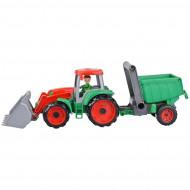 Tractor Truxx cu remorca verde Lena 55 cm