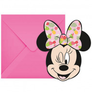 Invitatii pentru petrecere Minnie Mouse Tropical 6 bucati