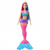 Papusa Barbie sirena cu par albastru si roz Barbie Dreamtopia